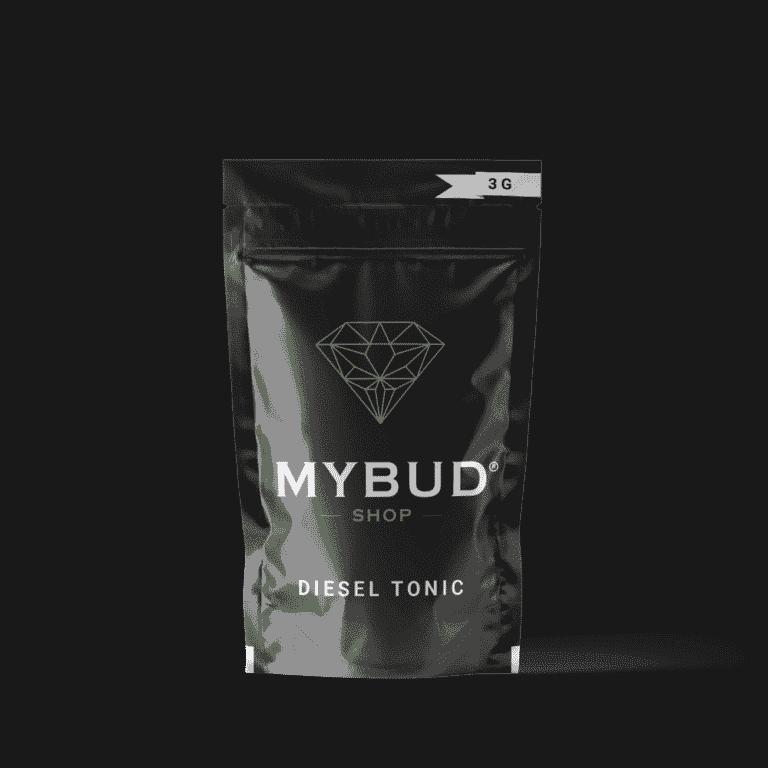 Pochette de la puissante fleur de cbd Diesel Tonic de chez Mybud Shop